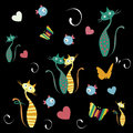 Animals a lot of butterflies cats and fishes with colors in black background Stock Photography