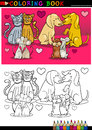 Animals in love cartoon for coloring book Royalty Free Stock Image