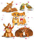 Animals in love cartoon on a white background Stock Image