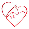 Animals love dog and cat inside heart shape Stock Images