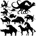Animals mating set of editable vector silhouettes of various with each figure as a separate object Royalty Free Stock Image