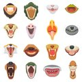 Animals mouth vector open jaw with teeth or fangs of roaring animals angry lion or cat and laughing bear with aggressive Royalty Free Stock Photo