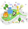 Animals music illustration of group of and Royalty Free Stock Image