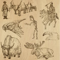 Animals pack around the world set no collection of an hand drawn illustrations description each drawing comprise of two layer of Royalty Free Stock Photography