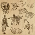 Animals pack around the world set no collection of an hand drawn illustrations description each drawing comprise of two layer of Royalty Free Stock Image