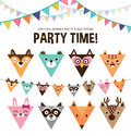 Animals party flags Royalty Free Stock Photo