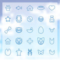 Animals pets icons set outline blue on clouds background Stock Image