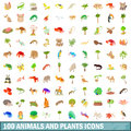 100 animals and plants icons set, cartoon style Royalty Free Stock Photo