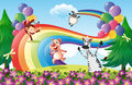 A group of animals at the hilltop with a rainbow and balloons