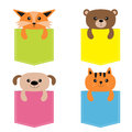 Animals in the pocket. Cute cartoon colorful dog, bear, fox, kitten kitty character. Dash line. Pet animal collection.  on Royalty Free Stock Photo