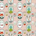 Animals portraits pattern polka dots Royalty Free Stock Photo