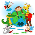 Animals puzzle earth Royalty Free Stock Photo