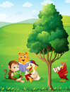 Animals reading under the tree at the hilltop illustration of Royalty Free Stock Photography