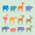 Animals set of animal icons and cartoons of wild Royalty Free Stock Photography
