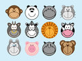 Animals set of funny cartoon monkey panda hippo cat ox zebra lion cow dog pig rhinoceros bear Stock Photography