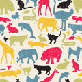 Animals silhouette seamless pattern. Royalty Free Stock Photo