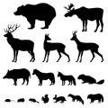 Animals silhouette set Royalty Free Stock Photo