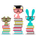 Animals sitting on books Stock Photo