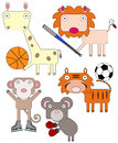 Animals in sports a set of with different equipment Royalty Free Stock Photo