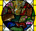 Animals in stained glass photo of a window with Stock Photos