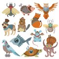 Animals steampunk vector animalistic characters in steam punk and industrial style illustration set of abstract cat or Royalty Free Stock Photo