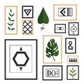 A collection of paintings and plants in frames in Scandinavian styles. Geometric shapes in frame, monstera and other plants.