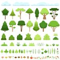 Set of different trees, bushes, grasses, leaves, mushrooms, apples, berries and clouds. Vector illustration.