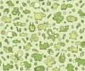 Animals texture seamless pattern kids green tones illustration eps mode Royalty Free Stock Photo