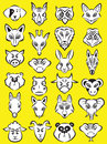 Animals vector illustration of cartoon head collection in line art mode Stock Images
