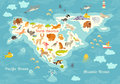 Animals world map, North America. Colorful cartoon vector illustration for children and kids.