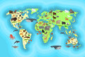 Animals world map wallpaper design Royalty Free Stock Photo