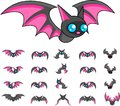 Animated Bat Monster Character Sprites Royalty Free Stock Photo