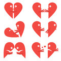 Set icon animated character halves hearts with eyes, mouth and hands on white background. Isolated graphic vector illustration in