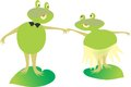 Animated frogs inlove holding hands drifting through life Stock Photography