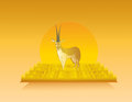 Animated gazelle in wild nature landscape and illustration Stock Images