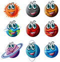 Animated planets illustration of the on a white background Stock Photo