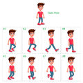 Animation of boy walking eight frames static pose vector cartoon isolated character frames Stock Photos
