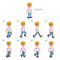 Animation of boy walking eight frames static pose vector cartoon isolated character frames Royalty Free Stock Photos