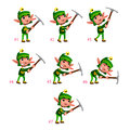 Animation of dwarf digging seven frames in loop vector cartoon isolated character frames Royalty Free Stock Photo