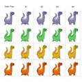 Animation of four funny dinosaurs walking frames static pose vector cartoon isolated character frames Stock Photos