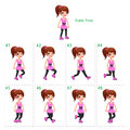 Animation of girl walking eight frames static pose vector cartoon isolated character frames Stock Photo