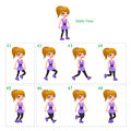 Animation of girl walking eight frames static pose vector cartoon isolated character frames Royalty Free Stock Photos