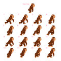 Animation of gorilla walking sixteen frames static pose vector cartoon isolated character frames Stock Photo