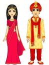 Animation Indian family. Royalty Free Stock Photo