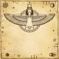 Animation portrait of the ancient Egyptian winged goddess. Space symbols. Vector illustration.
