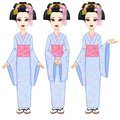 Animation portrait the beautiful Japanese girl in three different poses. Geisha, Maiko, Princess. Full growth. Royalty Free Stock Photo
