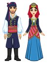 Animation portrait of a family in ancient Greek clothes. Full growth.