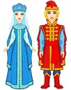 Animation portrait of a family in ancient Russian clothes.