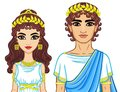 Animation portrait of a family in clothes of Ancient Greece.