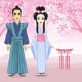 Animation portrait of Japanese family in ancient clotes. Geisha, Maiko, Samurai. Full growth. Royalty Free Stock Photo